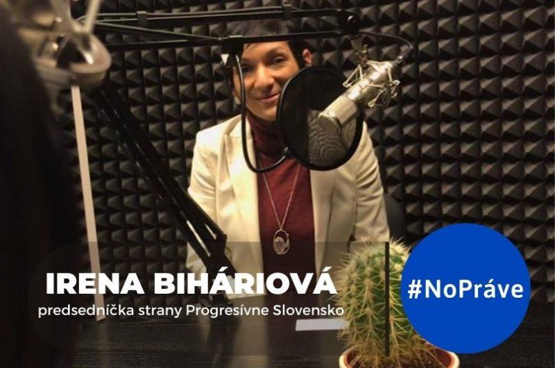 Irena Biháriová v štúdiu podcastu NoPráve